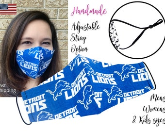 Detroit Lions Cotton Fabric Football Face Mask with adjustable elastic tie, for Adult Men Women and children, handmade with filter pocket