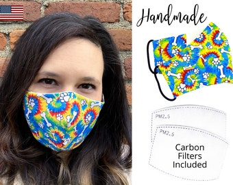Tie Dye Dog and Cat Bone Cotton Fabric Face Mask with elastic tie, for Adult Men Women and children, handmade with carbon filter pocket