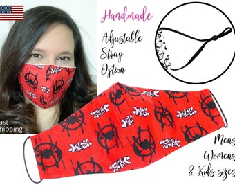 Spiderman Red Avengers Cotton Fabric Face Mask with adjustable ear straps, Adult Men Women & children sizes, handmade carbon filter pocket