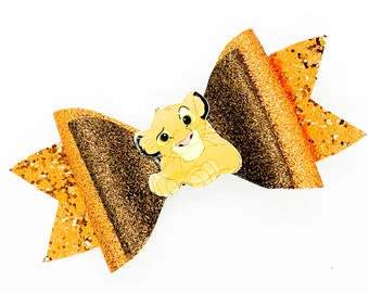Lion Cub King Inspired Orange Chunky Glitter Hair Bow