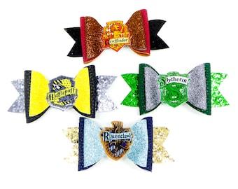 Set of Harry Potter House Glitter Hair Bows