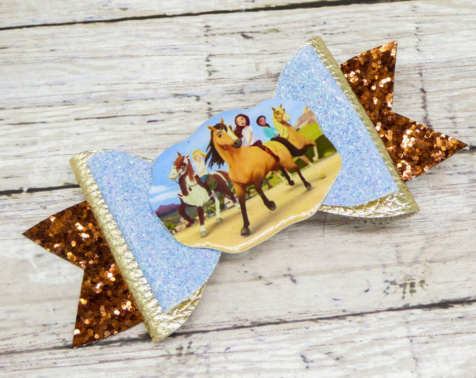 Spirit Riding Free Dreamworks Inspired with Lucky Glitter Leather Hair Bow