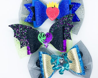 Descendants 3 Bow Set Disney Inspired Mal, Uma, & Evie Glitter Hair Bows