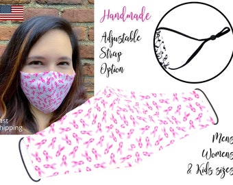 Pink Ribbon Breast Cancer Awareness Fitted Fabric Face Mask adjustable elastic tie, for Adult Men Women & children, handmade with pocket