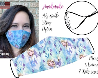 Frozen 2 Blue Elsa Fitted Fabric Face Mask with adjustable ear straps, Mens Women and children sizes, handmade with carbon filter pocket