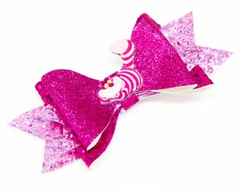 Cheshire Cat Disney Inspired Alice in Wonderland Pink Chunky Glitter and Tulle Hair Bow