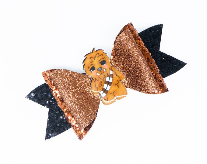 Chewbacca Chewy Star Wars Inspired Brown Chunky Glitter Hair Bow
