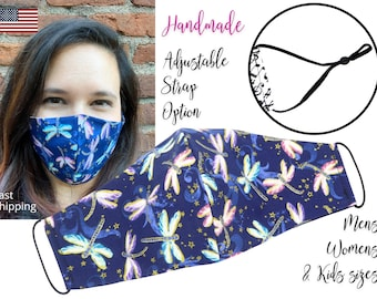 Navy Blue Dragonfly Glitter Fabric Face Mask with adjustable ear straps, Adult Woman & children sizes, handmade with carbon filter pocket