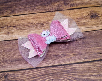 Marie Aristocats Disney Inspired White and Pink Chunky Glitter and Tulle Hair Bow