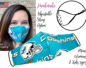 Miami Dolphins Fitted Fabric Football NFL Face Mask with adjustable ear tie, for Adult Men Women and children, handmade with filter pocket