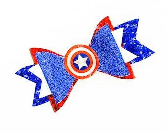 Captain America Marvel Comics Avengers Inspired Blue Chunky Glitter Hair Bow