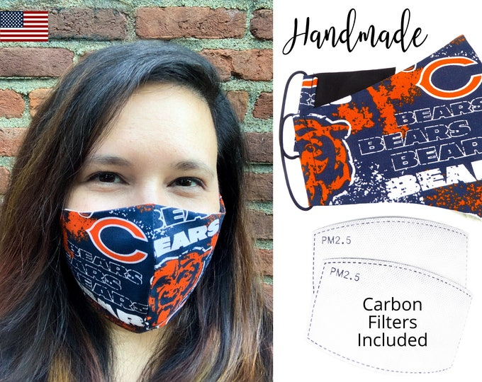 Chicago Bears Cotton Fabric Football Face Mask with elastic tie, for Adult Men Women and children, handmade with carbon filter pocket