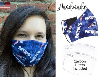 New England Patriots Cotton Fabric Football Face Mask with elastic tie, for Adult Men Women and children, handmade with carbon filter pocket
