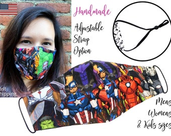 Avengers Stacked Marvel Fitted Fabric Face Mask with adjustable elastic tie, for Adult Men Women & children, handmade carbon filter pocket