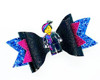 Wyldstyle Lucy Lego Movie Disney Inspired Glitter Hair Bow