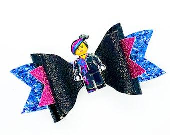 Wyldstyle Lucy Lego Movie Disney Inspired Black Chunky Glitter Hair Bow