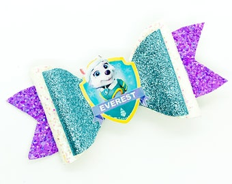 Everest Paw Patrol Nick Junior Inspired Purple Chunky Glitter Hair Bow