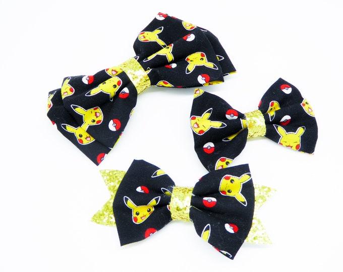 Pikachu and Pokeball Pokemon Trading Card Game Nintendo Inspired Fabric Hair Bow Set