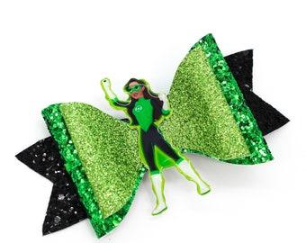 Green Lantern DC Super Hero Girls Inspired Chunky Glitter Hair Bow superhero