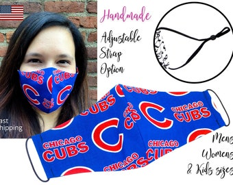 Chicago Cubs Baseball Cotton Fabric Face Mask adjustable elastic tie, for Adult Men Women and children, handmade with carbon filter pocket