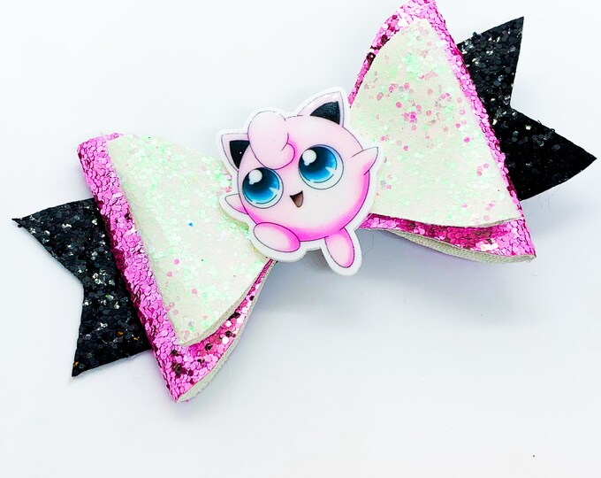Jigglypuff Pokemon Nintendo Trading Card Game Inspired Pink Chunky Glitter Leather Hair Bow