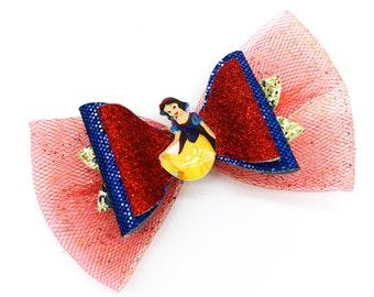 Snow White Glitter Hair Bow