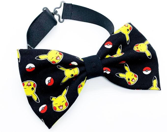 Pikachu Pokemon Pattern Fabric Bowties for baby, newborn, kids, and adults, matching girls hair bows