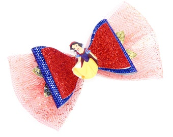 Snow White Movie Disney Inspired Seven Dwarfs Red Chunky Glitter and Tulle Hair Bow