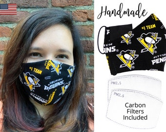 Pittsburgh Penguins Cotton Fabric Face Mask with adjustable elastic tie, for Adult Men Women & children, handmade with carbon filter pocket