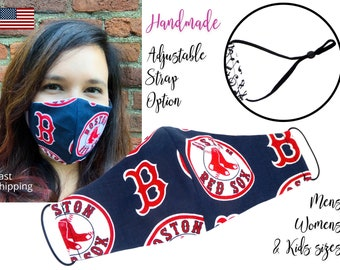 Boston Red Sox Baseball Fitted Fabric Face Mask adjustable elastic tie, for Adult Men Women & children, handmade with carbon filter pocket