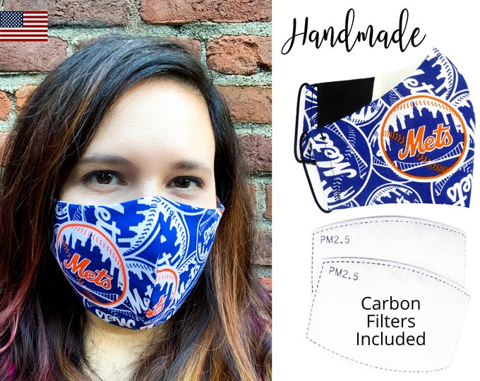New York Mets Cotton Fabric Baseball Face Mask with elastic tie, for Adult Men Women and children, handmade with filter pocket