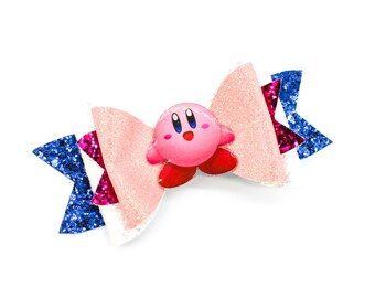 Kirby Super Mario Kart Inspired Gaming Pink Glitter Hair Bow