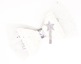 Fairy Godmother Disney Inspired Classic Cinderella White Chunky Glitter and Tulle Hair Bow