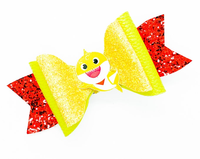 Baby Shark Yellow Shark Inspired Chunky Glitter Hair Bow