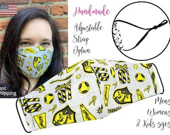 Harry Potter Hufflepuff House Cotton Fabric Face Mask with adjustable elastic tie, for Adult Men Women & children, handmade filter pocket