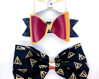 Harry Potter Inspired Golden Snitch & Deathly Hallows Faux Leather Fabric Hair Bows Set