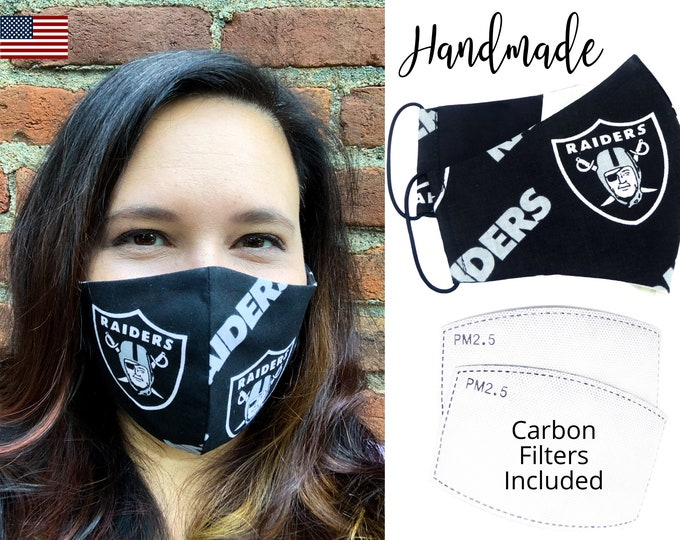 Las Vegas Raiders Football Cotton Fabric Face Mask with elastic tie, for Adult Men Women and children, handmade & carbon filter pocket