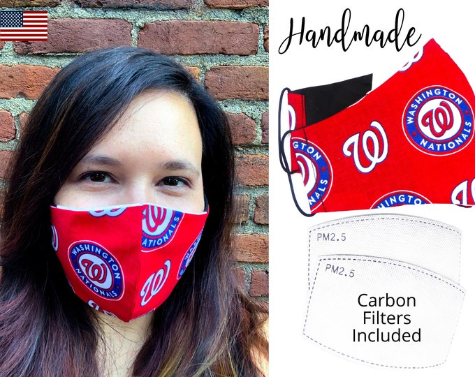 Washington Nationals Baseball Cotton Fabric Face Mask & elastic tie, for Adult Men Women and children, handmade with carbon filter pocket