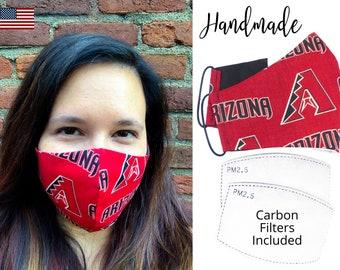 Airizona Diamondbacks Baseball Cotton Fabric Face Mask & adjustable elastic tie, for Adult Men Women and children, handmade filter pocket