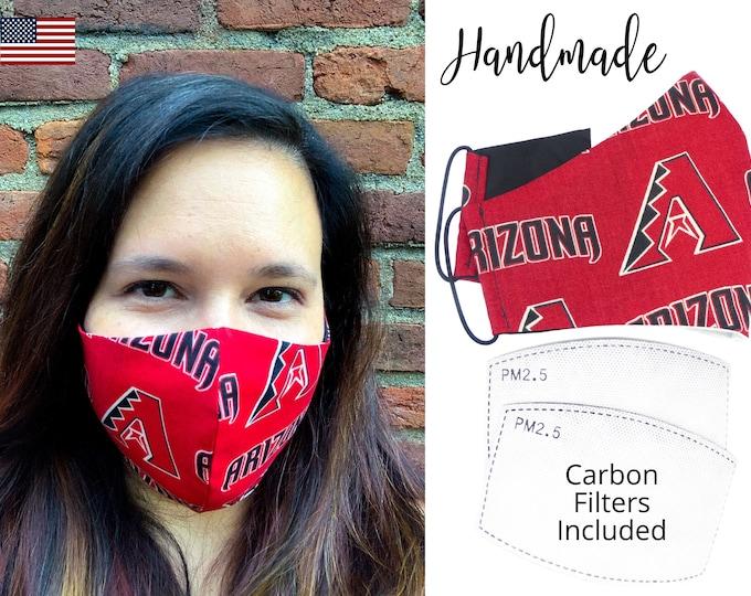 Airizona Diamondbacks Baseball Cotton Fabric Face Mask & elastic tie, for Adult Men Women and children, handmade with carbon filter pocket