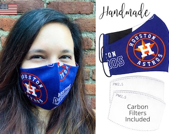 Houston Astros Baseball Fitted Fabric Face Mask & adjustable elastic tie, for Adult Men Women and children, handmade carbon filter pocket