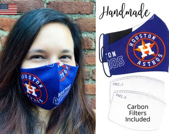 Houston Astros Baseball Cotton Fabric Face Mask & adjustable elastic tie, for Adult Men Women and children, handmade carbon filter pocket