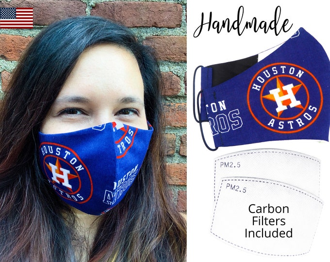 Houston Astros Baseball Cotton Fabric Face Mask & elastic tie, for Adult Men Women and children, handmade with carbon filter pocket