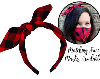 Christmas Red and Black Plaid Fabric Tie Knot Bow Headband for adult women and children, one size fits all