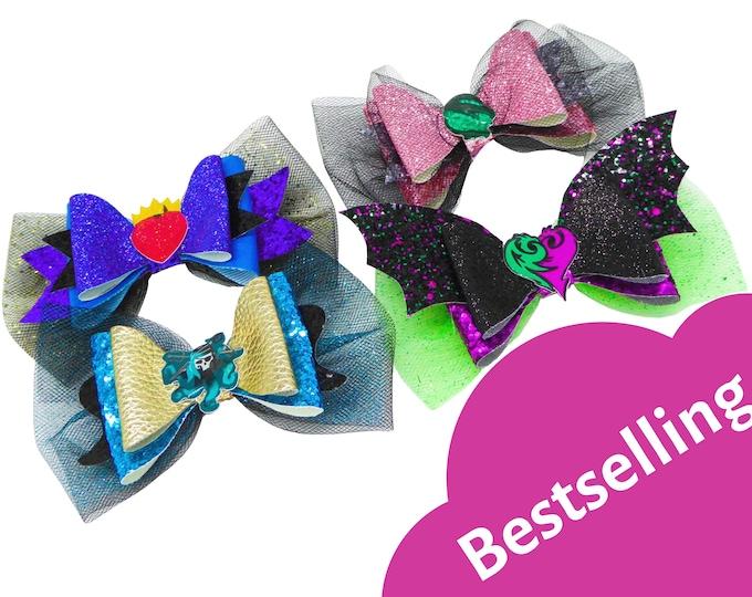 Set of 4 Descendants 3 Bow Disney Inspired Mal, Uma, Audrey & Evie Chunky Glitter and Tulle Hair Bows