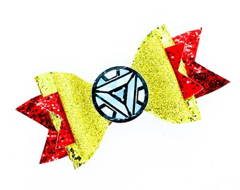 Iron Man Arc Reactor Marvel Comics Avengers Inspired Chunky Glitter Hair Bow