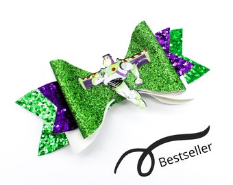 Buzz Lightyear Toy Story Inspired Green Chunky Glitter Hair Bow