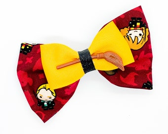 Harry Potter Character with Broom Warner Bros Inspired Cotton Fabric Glitter Hair Bow