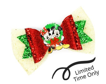 LIMITED TIME only! Christmas Disney Mickey and Minnie Mouse Inspired Brown Chunky Glitter Leather and tulle Hair Bow