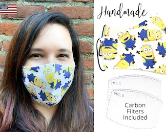 Yellow Minions Fitted Fabric Face Mask with adjustable elastic tie, for Men Women and children, handmade with carbon filter pocket